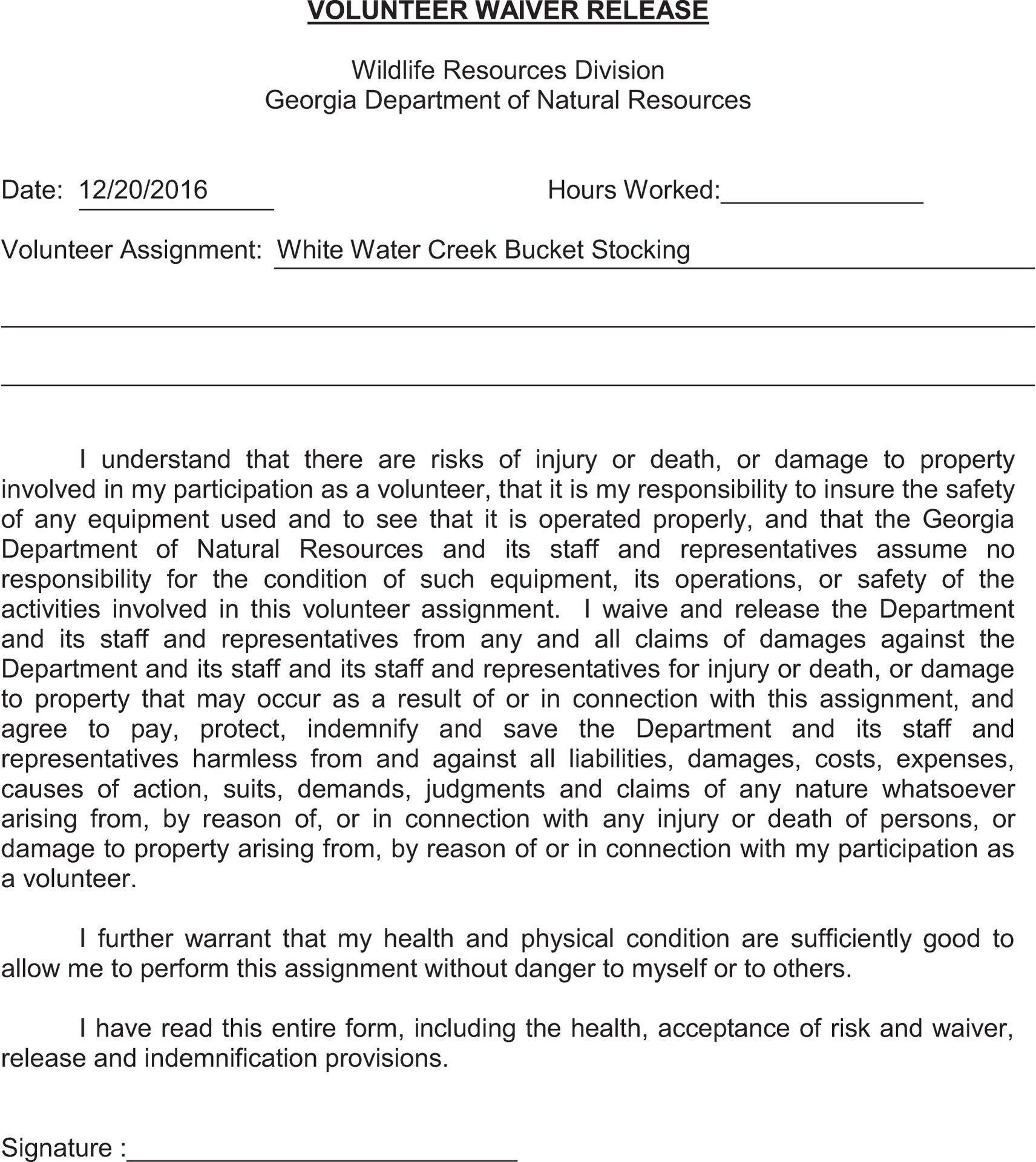 Chattahoochee Media Group - DNR stocking waiver form